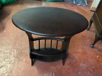 Antique Oval Side Table With Magazine Rack