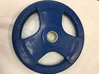 "TRI GRIP OLYMPIC WEIGHT PLATE DISCS GYM BARBELL FXR SPORTS RUBBER 2"" -50MM HOLE"