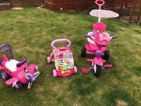 Girls first bike, push walker & sit on rider. Baby bike. Toys