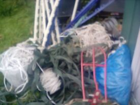 Large job lot of electric fencing rope/tape and fence posts