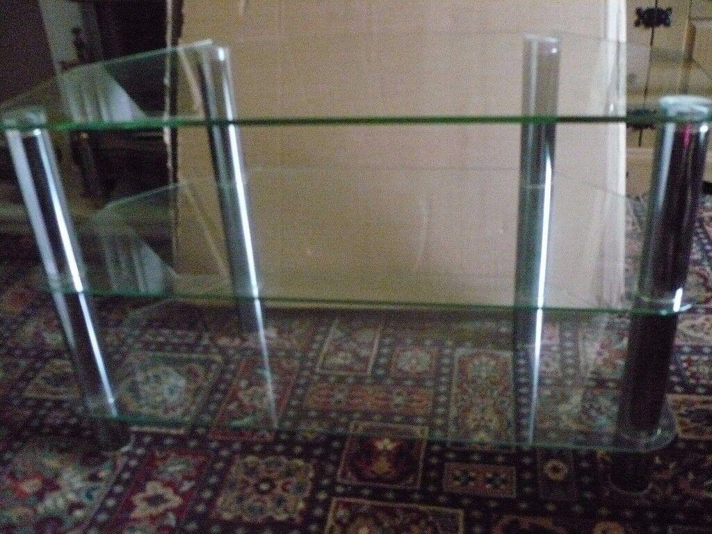 GLASS AND CHROME CORNER UNIT