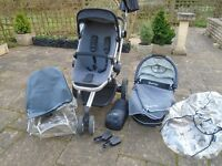 Quinny Buzz 3 Stroller (Storm) and Carrycot with Many Accessories
