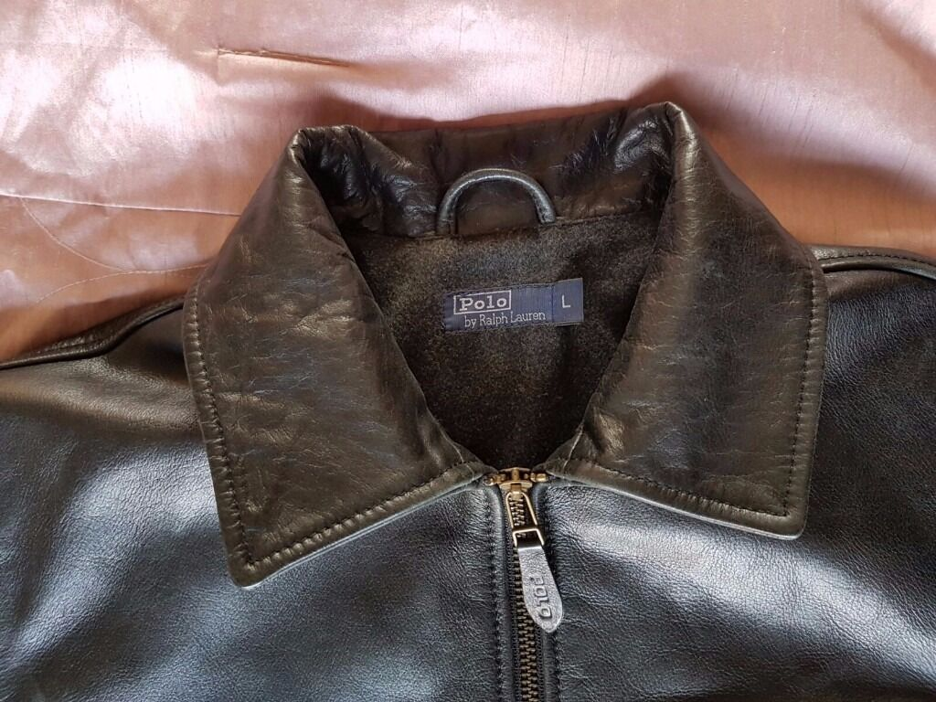 """Ralph Lauren black leather jacket Lin Chelmsford, EssexGumtree - A very good quality Buffalo black leather jacket by Ralph Lauren in size L ( label ) but its a little bit smaller M. Used only couple of times in very good condition. Only email or msgs. Measures shoulder to shoulder 17"""" approx when flat) Chest size..."""