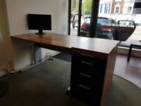 Modern walnut and black gloss office desk