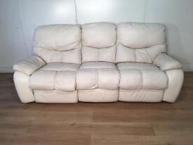 White electric recliner leather sofa with free delivery within 10 miles