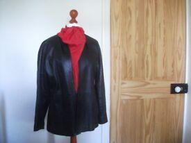 Jacket / JAEGER Black Leather Jacket - Size 16
