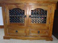 Solid Sheesham wood with wrought ironwork door panels TV media cabinet