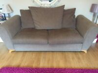 Light brown material 4 & 3 seater sofas