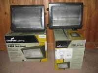 Lot of 2 - Cooper Wall Pack Fixtures 100W, 1 NEW & 1 used a week