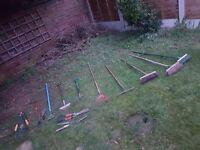 A range of garden tools