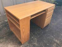 Handsome beech desk, John Lewis, good condition, 3 drawers, built-in shelves, sliding keyboard tray