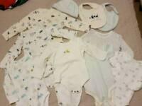 Baby 9 Piece New Unisex Pure Cotton Bundle Marks Spencer