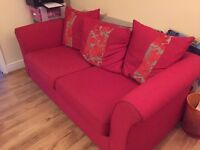 Red/Silver Sofa and Footstall
