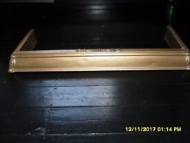 Antique attractive wood & metal fender with decorative mouldings