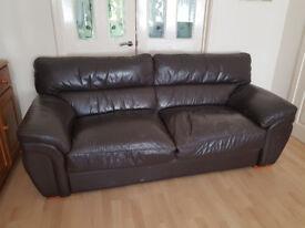 Free Dark Brown Leather Sofa/Settee