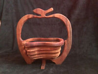 Carved wood / wooden fruit bowl collapsible apple shape