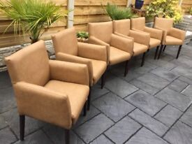 Brand New, Six Faux Leather Dining Chairs.