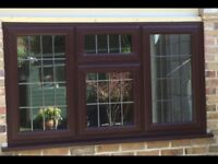 Rosewood Effect Double Glassed Window with Leaded detail.