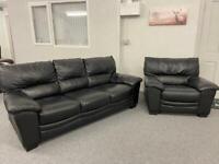 3 & 1 Black full leather sofas suite