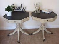 A pair of vintage Antique hexagonal side sofa coffee tables Brass feet on castors