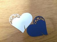 21 blue (front) white (back) name card hearts.