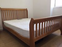 Argos Wooden Double Bed & Silent Night Miracoil Mattress
