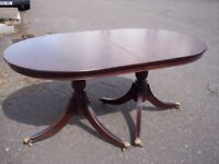 oblong solid mahogany table, vintage pedestal dining table- to seat 6 people