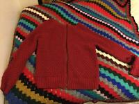 Dark maroon red crochet jumper/cardigan size 10