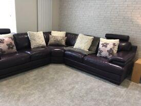 Beautiful plum leather corner sofa