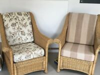 2x Wicker armchairs, Conservatory garden room chairs