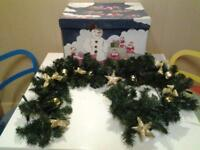 FIVE FOOT DECORATED CHRISTMAS GARLAND WITH LIGHTS PLUS STORAGE BOX