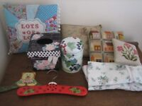 Bundle of items for the home. Shabby chic cushions,Emma Bridgewater tin,Tissue box,hangers etc