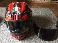 AGV Red patterned motorcycle helmet
