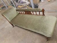 ANTIQUE OAK CHAISE LOUNGE VERY GOOD CONDITION DELIVERY AVAILABLE