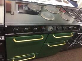 Black & green belling 100cm electric cooker grill & double fan ovens with guarantee