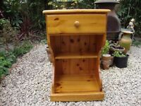 Solid Pine Bedside Cabinet.With Drawer.