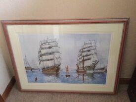 Signed Ltd edition print of sailing ships