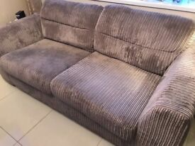 Grey two seater sofa & cuddle seat