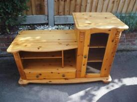Pine unit with glass display cabinet, shelves and drawer
