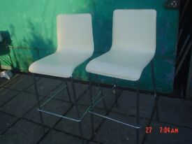 PAIR OF LEATHER STOOLS