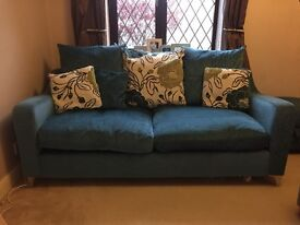 DFS 3 seater teal sofa and matching footstool