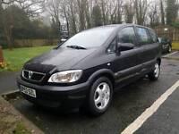 Vauxhall Zafira, Petrol, Black, 1598cc, Manual, 7 Seats, 2004 (53 Plate), Low Milage