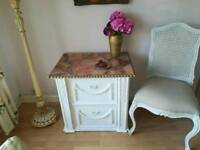 White french style shabby chic chest filing cabinet drawers bedside