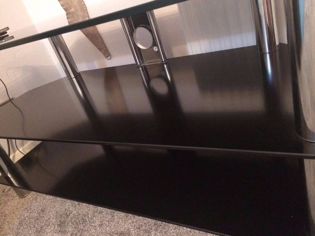 Mint condition Black Glass TV unit