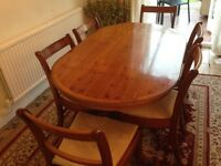 Brown Oval Yew Wood Dining Room Table With 6 Matching Chairs