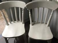 Pair of white wooden chairs FREE DELIVERY PLYMOUTH AREA
