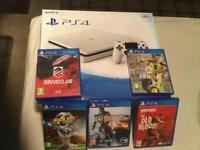 LOOK WHITE SLIM VERSION PS4 500GB BOXED WITH 5 GAMES