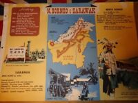 Vintage 1950's Educational Wall Poster Empire Information Project - North Borneo & Sarawak