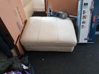 Leather sofa chair and pouf