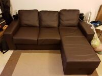 Nabru Ato 3 Seat Chaise Sofabed - L Shaped 3 seater Sofa - Brown Faux Leather